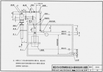 浮球阀安装及水箱有效容积示意图98 液压式水位控制阀安装及水箱有效
