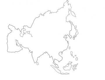 采用透明背景,线条空白世界地图,包含了世界气候类型图,亚洲政区图